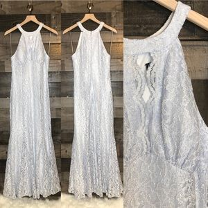 Nightway Ice Blue Keyhole Sparkly Lace Dress